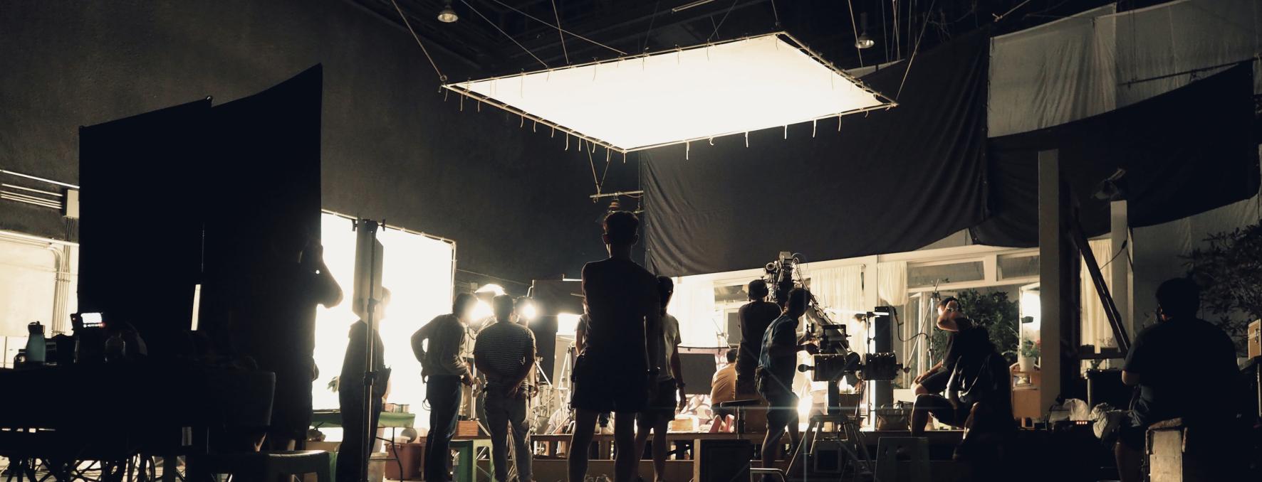 Film studio with crew